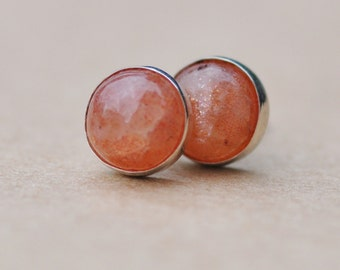 Sunstone Earrings handmade with Sterling Silver Studs. 8mm Cabochon Natural Gemstone Earrings, orange and silver studs, birthday gift