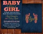 Coral and Navy Baby Shower Invitation