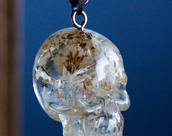 Large Skull Necklace Dry Flower Clear Skull Pendant Boho Chic Resin Skull Gothic Necklace Skull Jewelry - N329
