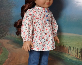 1970's pintuck peasant blouse and boot cut jeans for American Girl Julie or similar 18 inch doll.