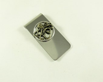 Money Clip, Stainless Steel,   Nautical Bronze Octopus in Silver Frame , Wedding Accessory Groomsmen Gifts Handmade