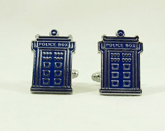 Mens Silver Cufflinks ,Doctor Who Police Box Time Machine  Mens Accessories Handmade