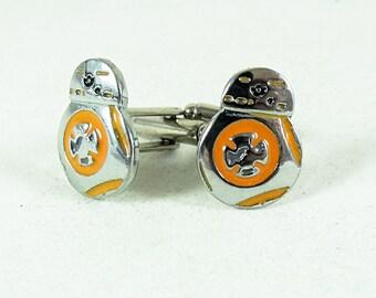 Mens Silver Cufflinks,  Star Wars BB8, Enameled  Mens Accessories  Handmade