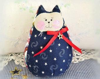 """USA Patriotic Cat Doll 6""""  Free Standing Kitty, Americana Red White Blue Cat Doll, Cottage Chic Doll Handmade CharlotteStyle Decorative"""