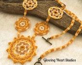 Honeybee Mandala Necklace - beaded golden yellow tribal bohemian ethnic huichol jewelry warm rustic geometric wearable art