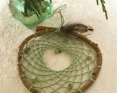 Peridot DreamCatcher - small natural willow branch green peridot chip gemstones gift for her