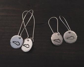 Hand Stamped Kentucky Dangle Earrings