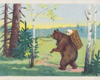 "Postcard Illustration by T. Sazonova for Russian Folk Tale ""Masha and the Bear"" -- 1955"