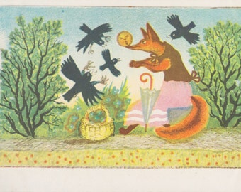 "Postcard Drawing by Y. Vasnetsov for Russian Tale ""The Round Little Bun"" -- 1958"