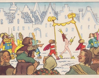 "Postcard Illustration by N. Goltz -- Hans Christian Andersen ""The Emperor's New Clothes"" - 1957"