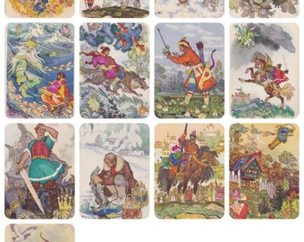 Signed. N. Kochergin, Russian Tales. Complete Set of 12 Vintage Postcards in original cover -- 1962. Bad condition (!)
