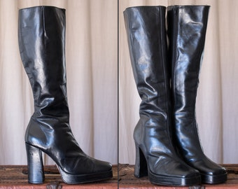 black leather platform boots - 10 women