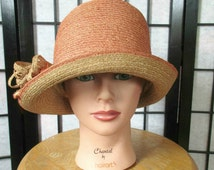 Vintage Cloche Hat Peach Beige Deco Bow 1930s 1940s Spring Summer Millinery Small Medium