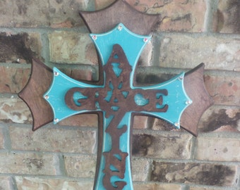 Decorative wall crosses, stacked crosses, wooden crosses, Amazing Grace turquoise brown cross, crosses with bling, crosses, cross, turquoise