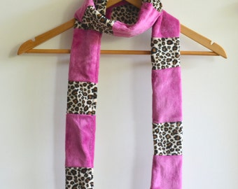 Cheetah Print and Raspberry Plush Scarf