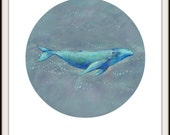 Unique Whale Art / Blue Whale Illustration / Ocean Whale Print / Whale Lover Gift / Whale Gift