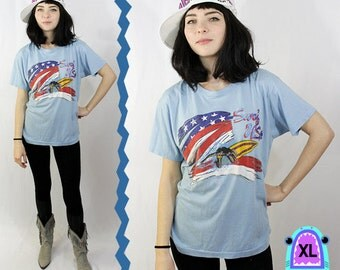 Surf USA Baby Blue American Flag Soft Tee