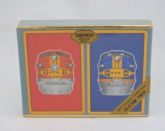 Vintage 1960's Santa Fe Locomotive Train Congress Playing Cards - Sealed Double Deck