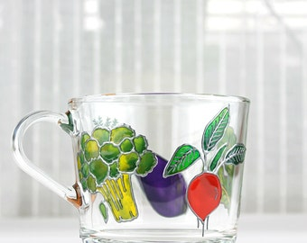 Vegan Mug, Hand Painted Glass Mug, Glass Mug with Vegetables, Glass Vegan Mug, Gift Idea for a  Vegan or Vegetarian
