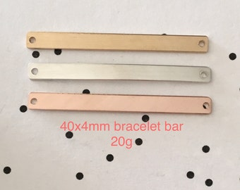 Bracelet Blank, 20g, 40x4mm, Gold Fill, Rose Gold Fill or Sterling Silver, Stamping Blank