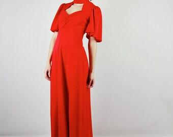 70's Studio 54 Red Maxi Dress