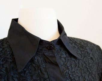 Vintage Black Lace Button Down Shirt