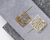 Geometric Urban Street Grid Brooch, Statement Gold Map Brooch of Paris, NYC, Barcelona, Rome, Tokyo, London, Jerusalem, TaliaSari
