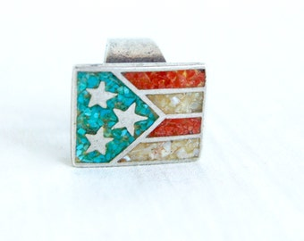 Biker Ring Size 4 Turquoise and Red Coral American Flag Puerto Rico Flags Vintage Sterling Silver Statement Ring
