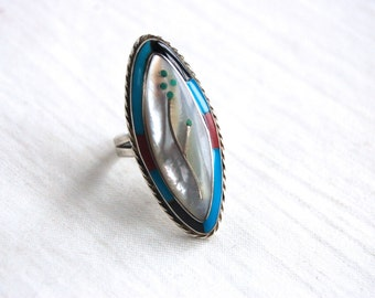 Zuni Flower Ring Size 6 .5 Turquoise Mother of Pearl Onyx Red Coral and Sterling Silver Vintage Native American Jewelry