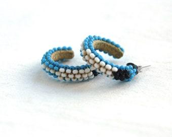 Beaded Hoop Earrings Blue Seed Bead Hoops Vintage Southwestern Turquoise Beads Jewelry
