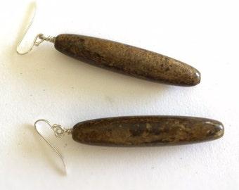 Brown Earrings - Sterling Silver Jewellery - Bronzite Gemstone Natural Jewelry - Chunky