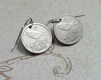 Coin earrings - Chickadee Earrings - vintage Norway 25 ore coins - bird earrings - little bird dangles - Siberian chickadee - bird jewelry