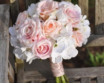 Wedding Flowers, Wedding Bouquet, Keepsake Bouquet, Bridal Bouquet Blush pink and ivory hydrangea with blush coral roses wedding bouquet.