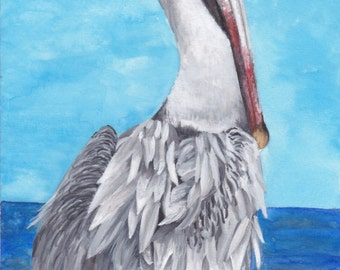 Limited Edition Print of Pelican (2 of 3) Watercolor Painting