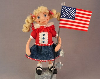 All-American Patriotic Girl Polymer Clay Figurine