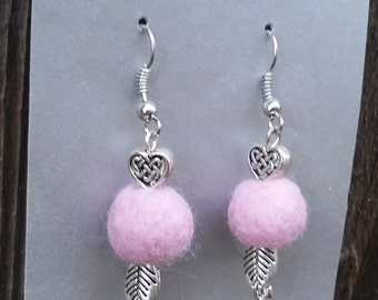 Pink Heart and Feather Earrings