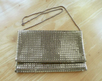 Gold Lame Evening Bag Large with Built-in Mirror Vintage