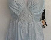 Vintage Olga Teddy Romper Lingerie Aqua Style 90270 Size XX  Plus Size NOS