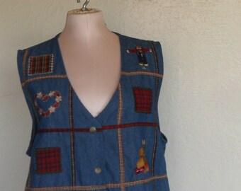 Vintage Vest Denim Halloween Fall Novelty Size Large