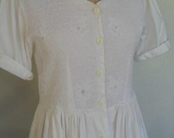 Vintage Cotton Dress White Embroidered Beaded by Passports Size Medium Wedding Bridal