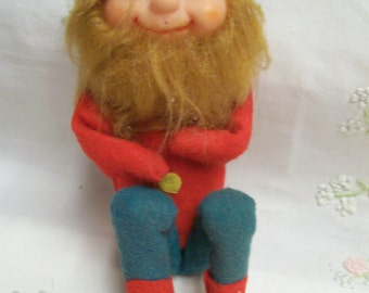 Rare Vintage Pixie Knee Huggers Bearded Circa 1950s Japan Choice of Red or Green Hat