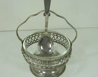 Vintage SILVERPLATE JAM DISH Relish Jelly Holder w/ Spoon England