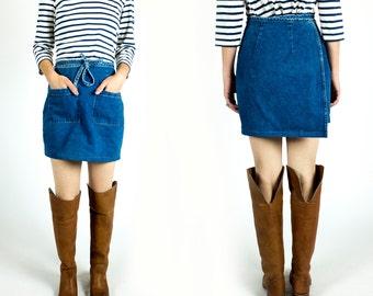 Vintage 1990s Upcycled Medium Light Wash Tie Waist Wrap Mini A-Line Denim Jean Skirt Size XS Extra Small S Small