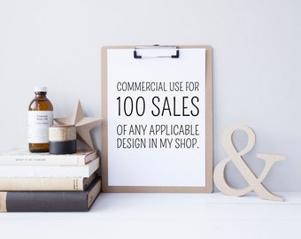 Commercial Use Licensing for 100 Uses of ONE Applicable Design from My Shop