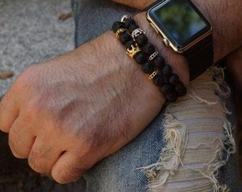 Crown bracelet, Mens bracelet, Mens Crown Bracelet, Lava Bracelet, Gifts For Him, Gemstone Men Jewelry, Black Bracelet, small crown bracelet