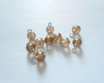 Lighter Brown Pastel Transparent Glass Dangle Beads