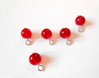 Dark Red Transparent Druk Dangle Beads
