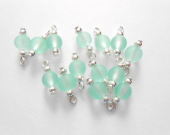 Soft Light Green Frosted Dangle Beads