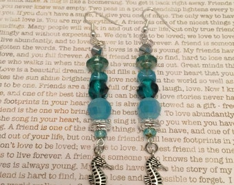 Silver Seahorse Earrings - OOAK Made With Czech Crystals In Blue And Silver Ocean Themed