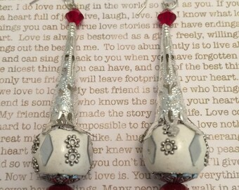Scratch and Ding Earrings - OOAK - Made With Czech Crystals, Red Pearls and White Kashmiri Mirror Beads